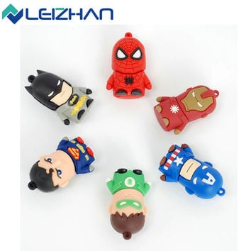 Classic Heroes Superman Spiderman Batman USB Flash Drive 4GB 8GB 16GB 32GB pen drive memory stick Flash card