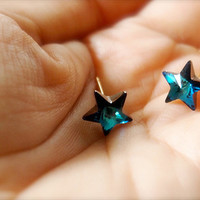 Catch A Falling Star -- Swarovski Stars Earrings - Gold Earposts, Everyday Casual, Something Blue, C | Luulla