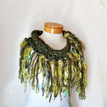 Green  triangle scarf Cowl neck Ribbon yarn shawlette Knit scarf  Olive with lime fringe Fashion scarflette Evening wear party