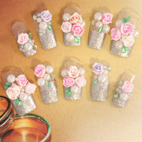 Bridal Wedding Nails - Silver Rose Wedding - 3D false fake press-on nail art - Japanese Nail Art