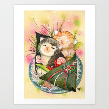 Christmas Kittens Sushi Wrap Art Print by Christina Siravo