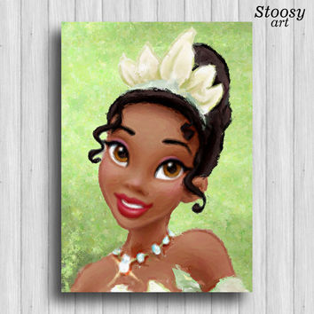 Princess Tiana poster disney princess wall art nursery painting girl room