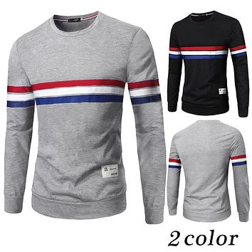 2016 New Autumn Fashion Brand Casual Sweater O-Neck Striped Slim Fit Knitting Mens Sweaters And Pullovers Men Pullover Men 2XL