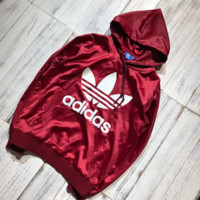 Adidas Fashion New Bust Letter Leaf Print Long Sleeve Silk Top Women Leisure Sweatshirt Burgundy