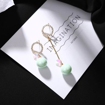 Candy Colors Pink Green Red Ball Full Bling Crystal Hoop Stud Asymmetric Drop Earrings Women Dangle Earrings 3 Kinds