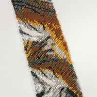 Woven Tiger Print Cuff Bracelet w Sterling Silver Clasp