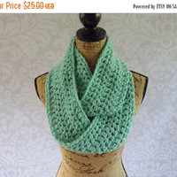Labor Day Sale Ready To Ship Infinity Scarf Crochet Knit Winter Ocean Sea Green Mint Women's Accessories Eternity Fall Winter