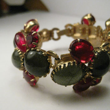 Vintage Gold Tone Art Deco Jelly Bracelet, Wide, Red and Green, Oval, Round, & Marquis, 7""