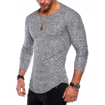 6 Colors Spring Men Long Sleeve T Shirt Casual Round Neck Striped Elastic Fit Funny Street wear Solid Hip Hop Tops