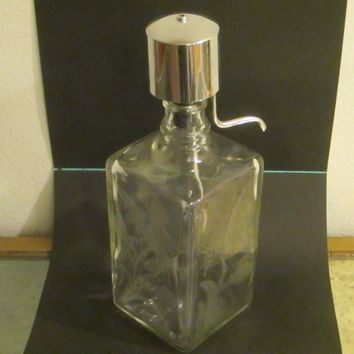 Scotch Glass Decanter Chrome Dispenser Decorated Flowers