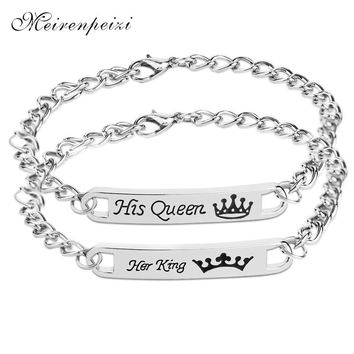 her king Bracelets men his queen Bracelet Women her king his queen chain couple statement braclets for lover wife boyfriend lady