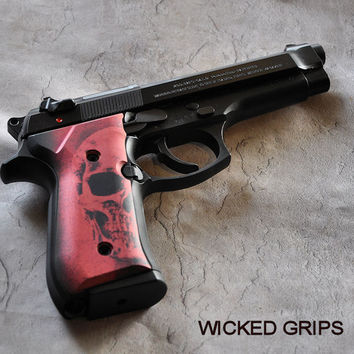 BERETTA 92FS CUSTOM GRIPS RED SKULL - Wicked Grips