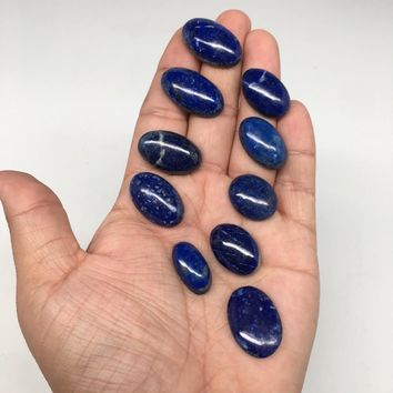 "10pcs,41.9g,0.8""x1.1"" Natural Lapis Lazuli Oval Shape Cabochons @Afghanistan,CP6"