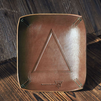 Personalized Leather Valet Tray #Brown