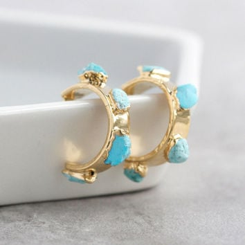raw turquoise / december birthstone / genuine turquoise / gold turquoise hoops / gypsy earrings / december hoop earrings / december hoops
