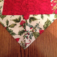 Table runner for Christmas, sz M, red print inside & poinsettia pattern, coffee table scarf, Christmas decor, dresser scarf, handmade runner