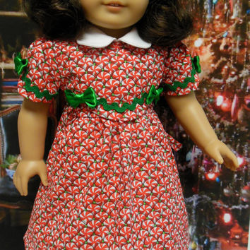 "Historical American girl doll clothes ""Christmas Sweets""  (18 inch) 1940s Christmas dress candy peppermints red and green for Kit or Ruthie"
