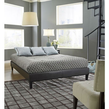 Full Size Brown Faux Leather Platform Bed Frame With Wood Slats