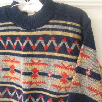 Vintage Boy's Aztec/tribal print sweater (2-3T), Toddlers, Baby Boy, Blue, Rust, Gold, Navy, Hipster, Navajo