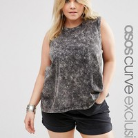 ASOS Curve | ASOS CURVE Sleeveless Top in Acid Wash with Hankey Hem at ASOS