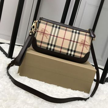 Burberry Haymarket Cottonleather Wallet with Strap