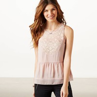 AEO Women's Crocheted Lace Tank (Bl