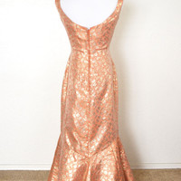 1950s Metallic Brocade Mermaid Evening Gown Blanes of London Larger Size
