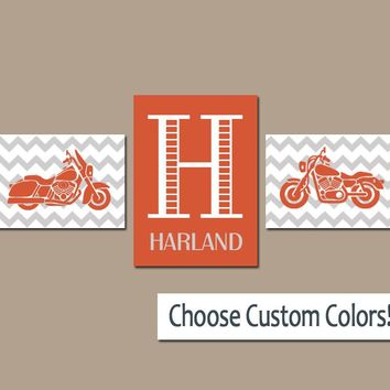 MOTORCYCLE Boy Wall Art, Canvas or Prints Orange Gray Boy Bedroom Monogram Name Initial Wall Art, Set of 3 Transportation Theme Boy Decor