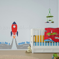 Dare to dream rocket adventure wall decal, spaceship, nursery, vinyl wall decal, wall art