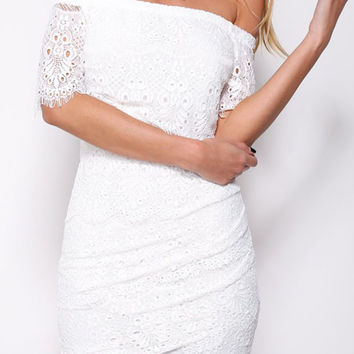 White Lace Off-shoulder Mini Dress