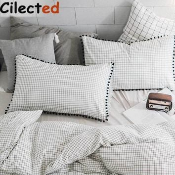 Cilected Plaid Pom Pillowcase Cover For Bedding Set Stripe Pillow Protector For Mr Mrs Couple Sleeping 48*74cm 1 Pair