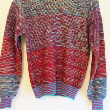 Women's Vintage 70's Ombre Space Dyed Knit Sweater Sz S/M