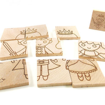 Two-Sided Fariytale Handcrafted Wooden Puzzle - Fairy and Prince & Princess