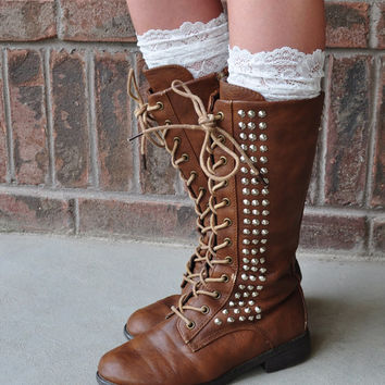 Lace Boot Cuffs - Faux Lace Boot Socks - Faux Lace Leg Warmers - Lace Boot Topper - Faux Knee High Sock - Womens - Ivory