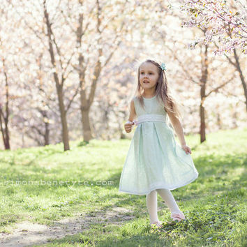 Special occasion flower girl mint linen dress - Spring weddings children clothing