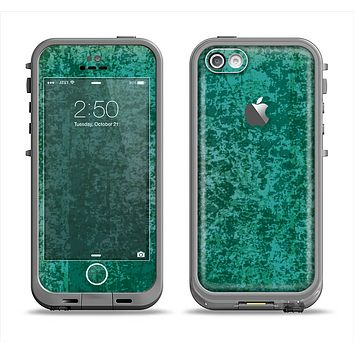 The Emerald Green Choppy Pattern Apple iPhone 5c LifeProof Fre Case Skin Set