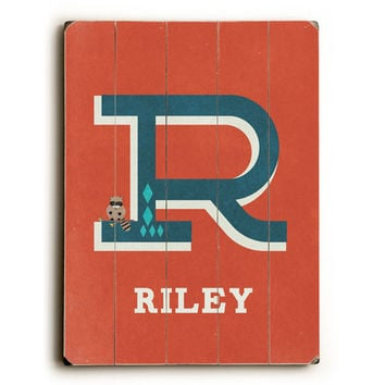 Personalized Alphabet - Letter R Wood Sign by Artist Rebecca Peragine
