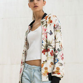BERSHKA WOMAN (ZARA GROUP) FLORAL PRINT BOMBER JACKET REF:1118/962 SIZES: S-L