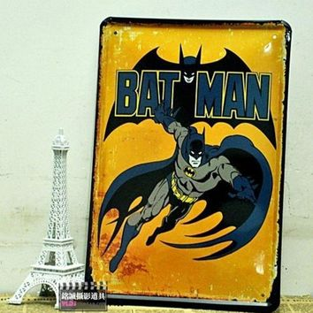 CREYUG3 Personalized Batman Vintage Poster Retro Painting decorative picture Tin sign Iron Metal mural Painting Home Art Wall Decor = 1927914372