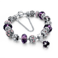 European Style Crystal Flower Charm Bracelet- Various Colors