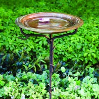 Solid Copper Bird Bath with Twig Base, Staked