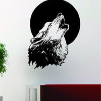 Wolf Howling Moon Design Decal Sticker Wall Vinyl Art Home Room Decor