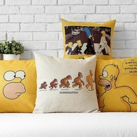 Cotton linen Cute funny cartoon simpson Cushion cover 45X45 For Sofa Home Decor Almofadas Decorative Throw Pillows