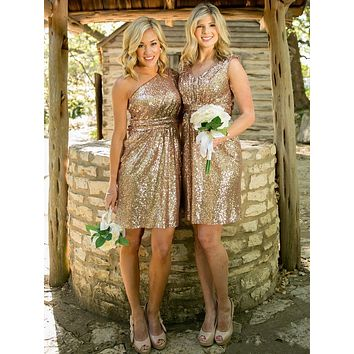 H007 In Stock Cheap Gold Sequined Bridesmaid Dresses Short 2016 Vestido De Festa African Wedding Party Dresses Vestido De Noiva
