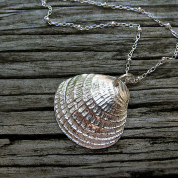 Silver shell necklace hand cast from real shell, silver shell pendant, seashell necklace, north carolina coast, beach coastal nautical ocean