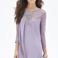 FOREVER 21 Lace Paneled Shift Dress Lavender