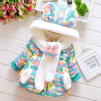 2017 Winter Baby Boys Girls Snow Wear Coat Cute Rabbit Baby Jacket Thick Cotton-Padded Baby Girl Outerwear 0~3 Y