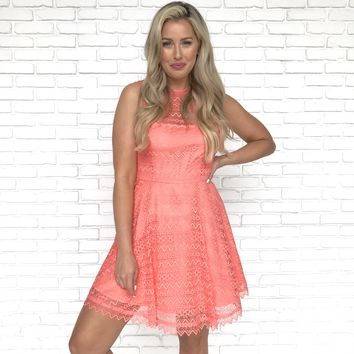 BB Dakota Coral Lace Skater Dress