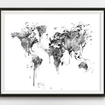 World Map Print, Black and White, Watercolor Travel Map, Wall Art, Atlas, Globe, Earth, Large World Map, Map Poster, Home Decor, Download