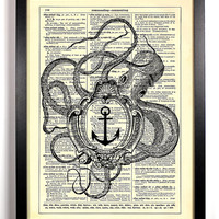 Repurposed Book Upcycled Dictionary Art Vintage Book Print Recycled Vintage Dictionary Page Octopus Holding A Frame Buy 2 Get 1 FREE